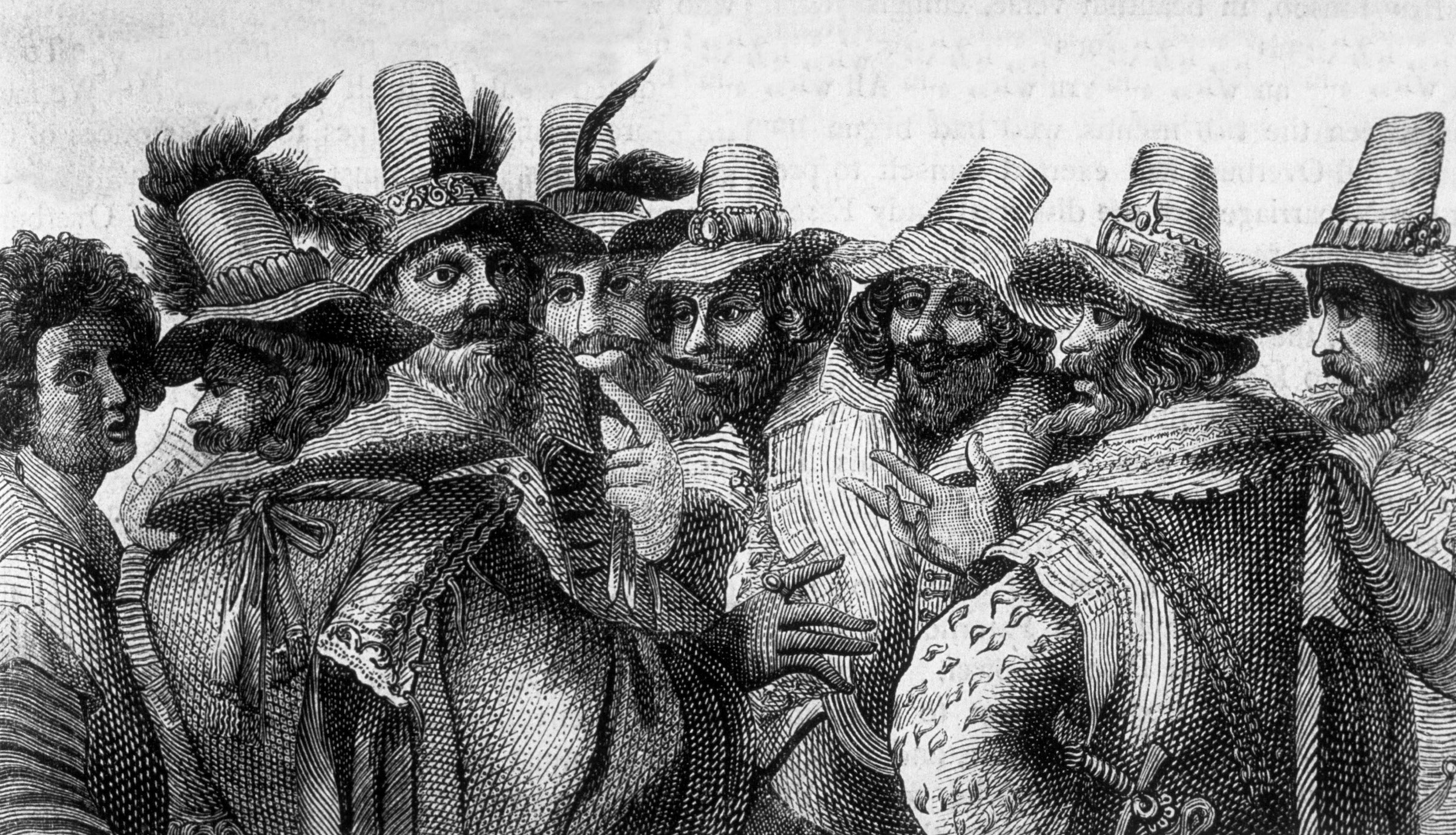 Engraving of Guy Fawkes and other Gunpowder plot conspirators, from OLD AND NEW LONDON (Vol. 1) by Walter Thornbury, 1897.