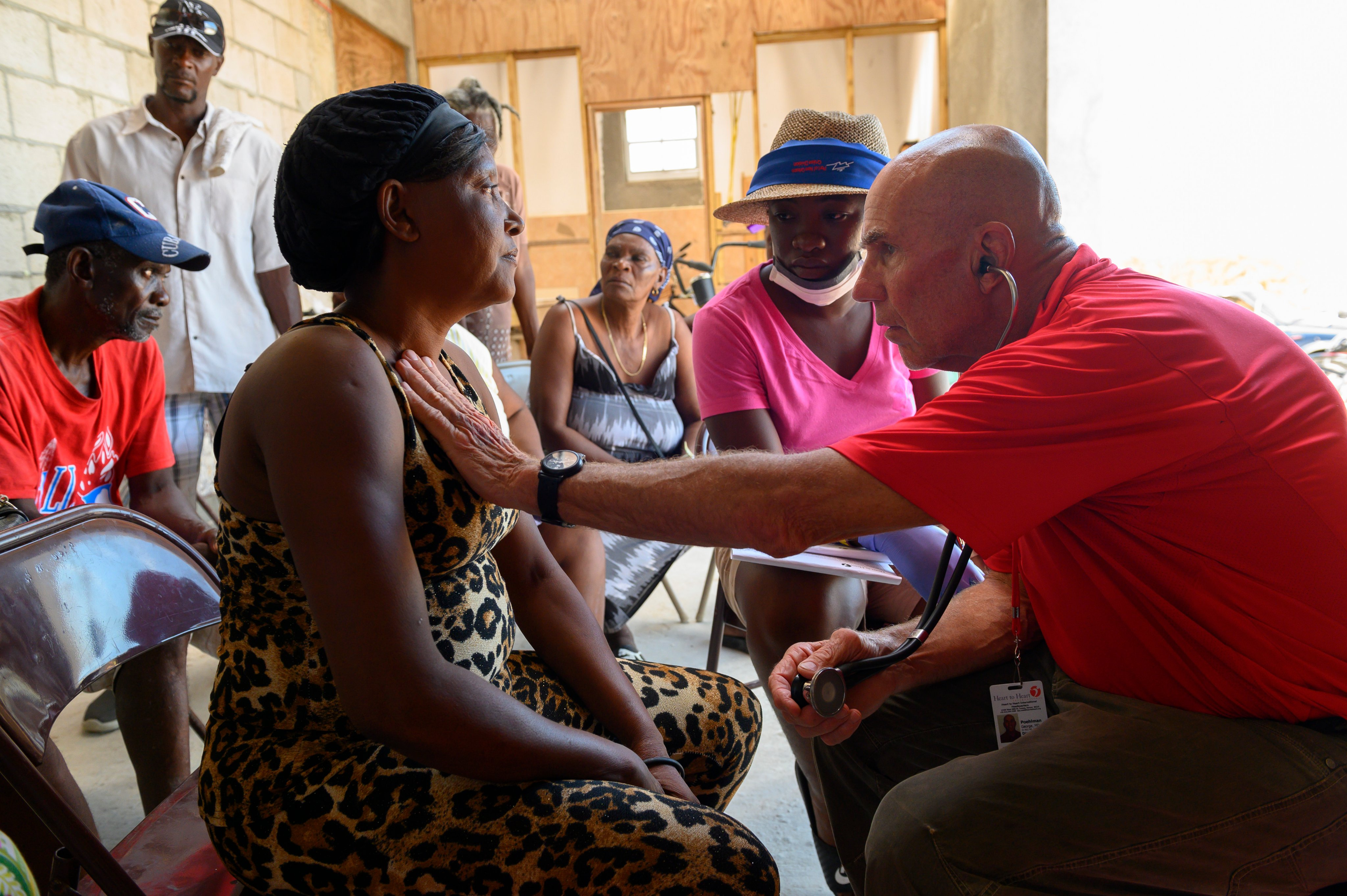 Dr. George Poehlman with Heart to Heart International sees patients at a clinic in the Bahamas set up after Hurricane Dorian  hit the islands.