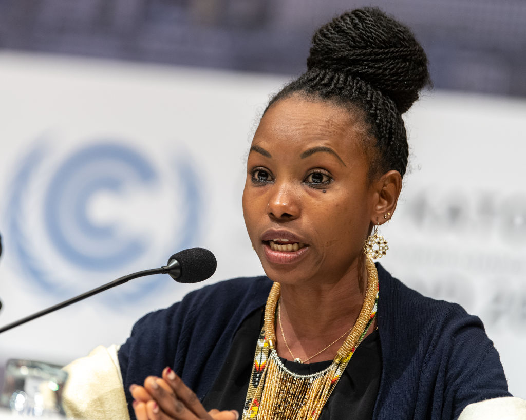 Hindou Oumarou Ibrahim of the African Indigenous Peoples Committee speaks at a press conference at the World Climate Summit.