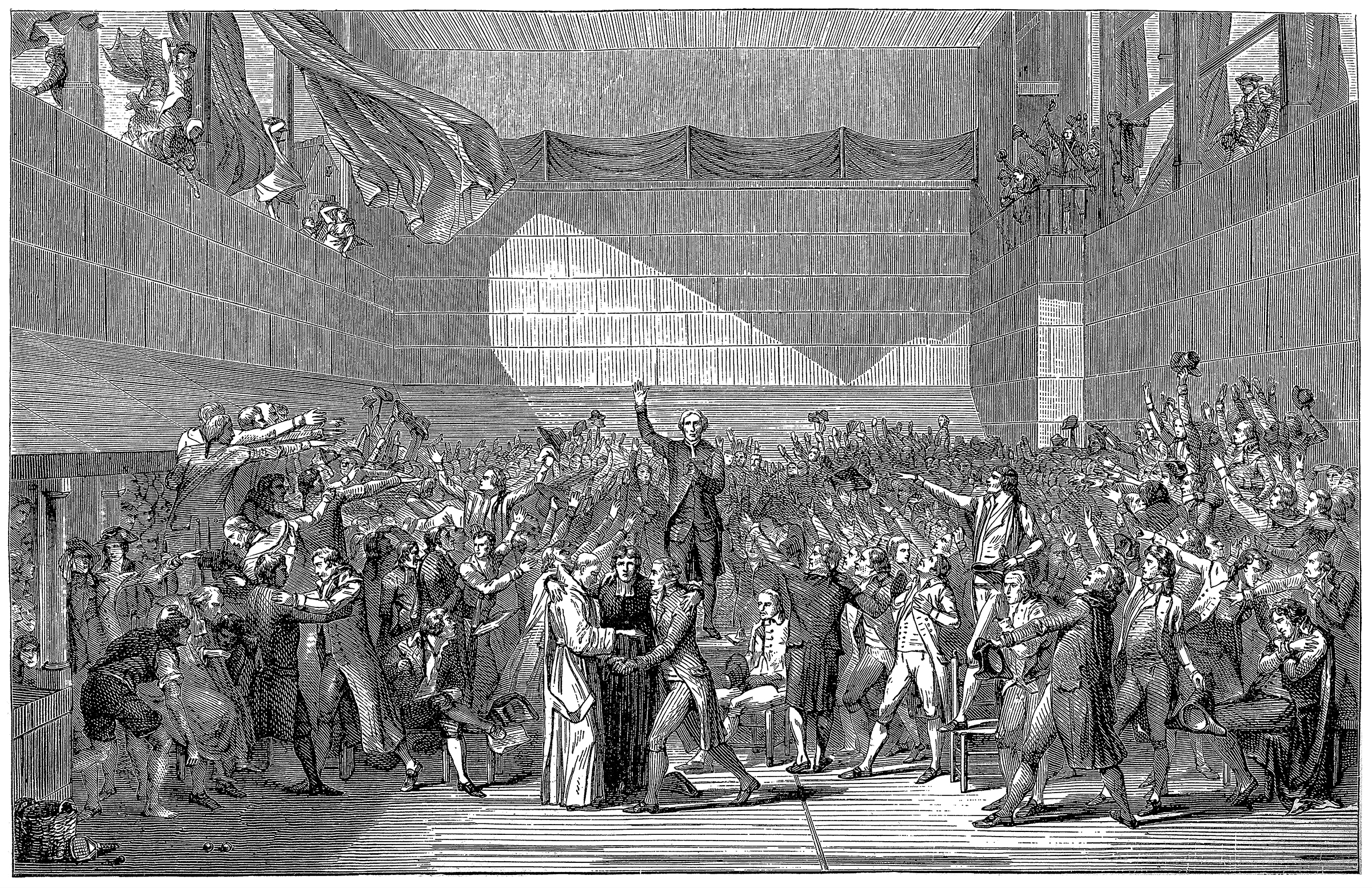 Illustration of a Revolution. 20th June, 1789. The meeting of the deputies of the National Assembly during the signing of the Tennis Court Oath, in Versailles.