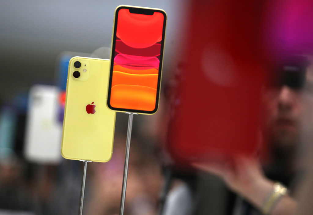 The new Apple iPhone 11 is displayed during a special event on September 10, 2019 in the Steve Jobs Theater on Apple's Cupertino, California campus.
