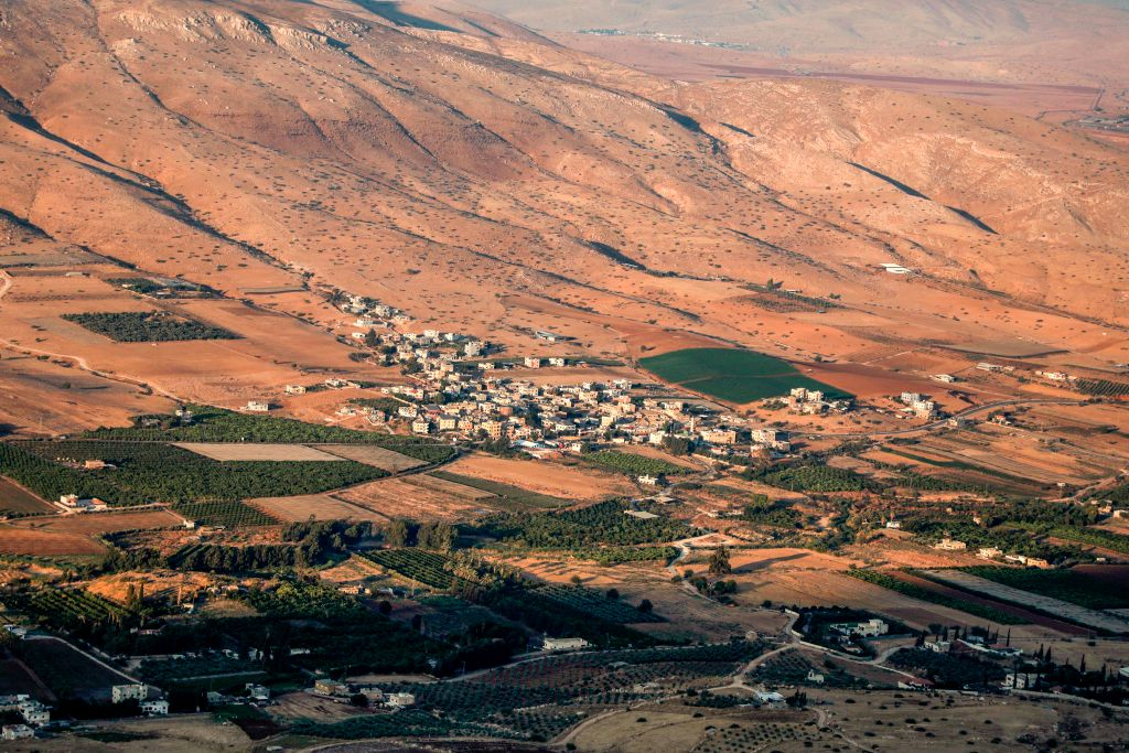 This picture taken on September 12, 2019 shows a general view of a central area of the Jordan Valley.