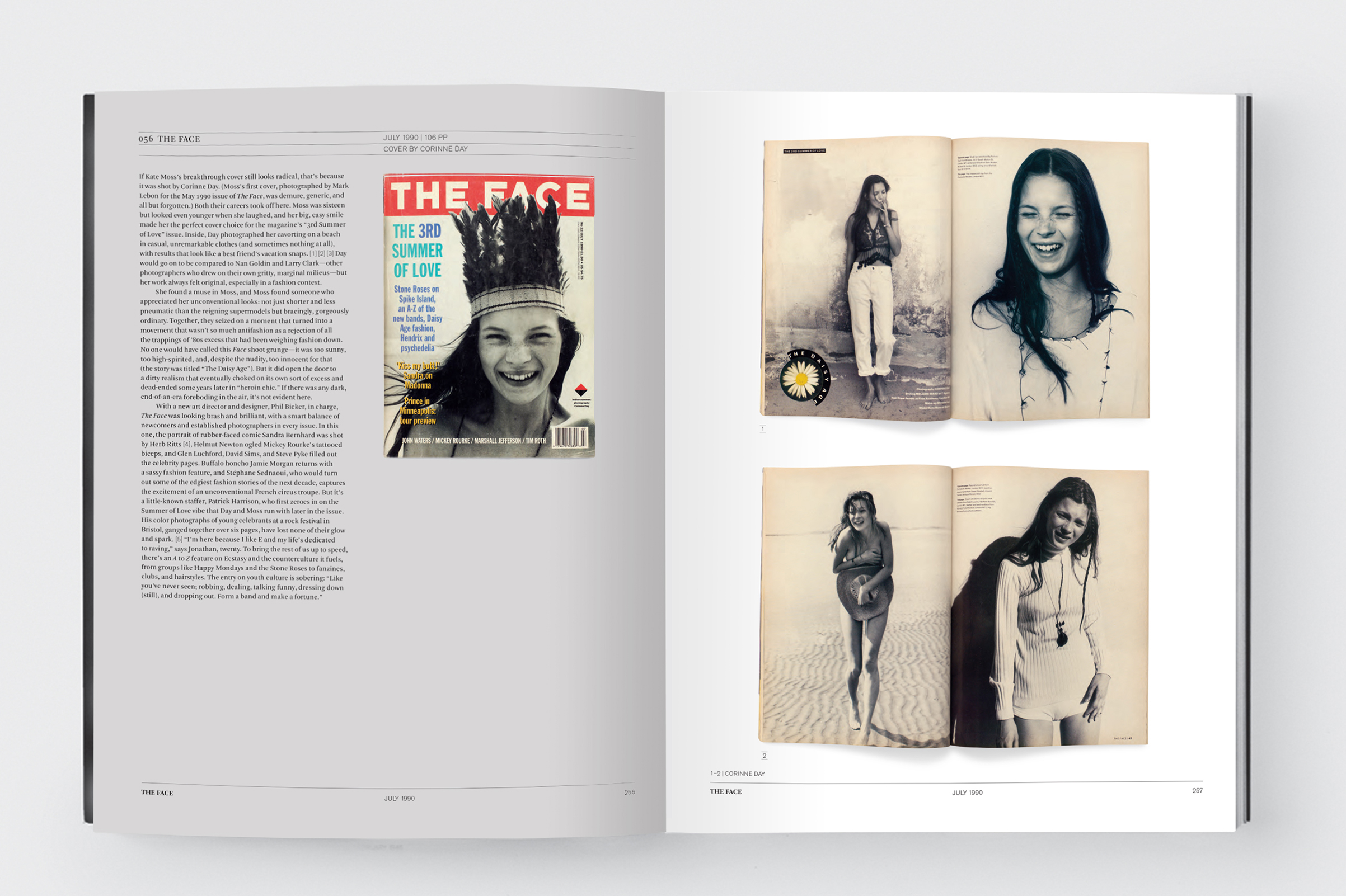 A spread from The Face, July 1980, featuring Kate Moss by photographer Corinne Day; from Issues: A History of Photography in Fashion Magazines.