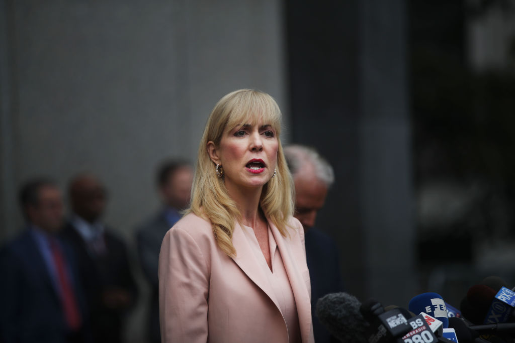 Attorney Sigrid Macawley, representing several alleged victims of fund manager Jeffrey Epstein, speaks to the media outside of a Manhattan court house after a bail hearing on sex trafficking charges for Epstein on July 18, 2019 in New York City.