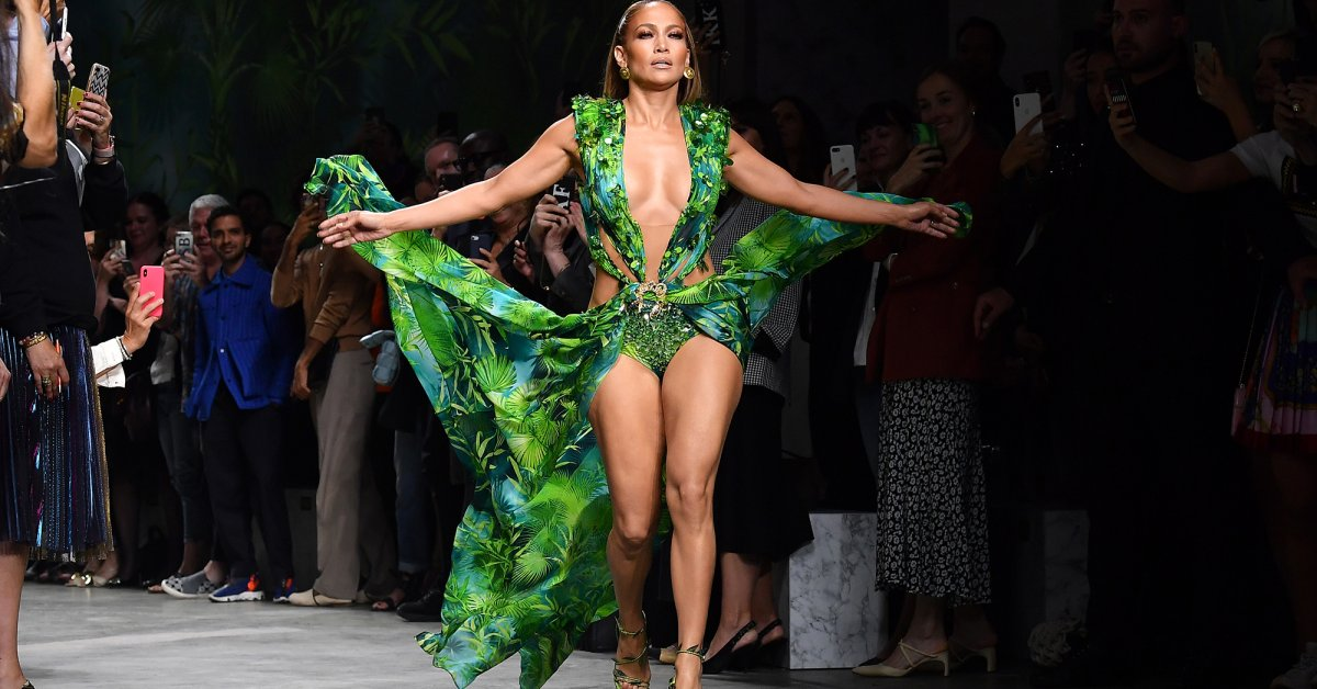 J. Lo Shuts the Versace Runway Down in the Iconic Green Dress That Inspired Google Images