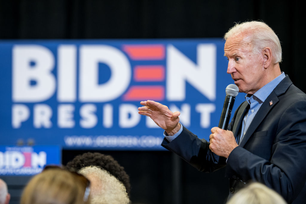 Democratic presidential candidate and former Vice President Joe Biden addresses a crowd at a town hall event at Clinton College on August 29, 2019 in Rock Hill, South Carolina.