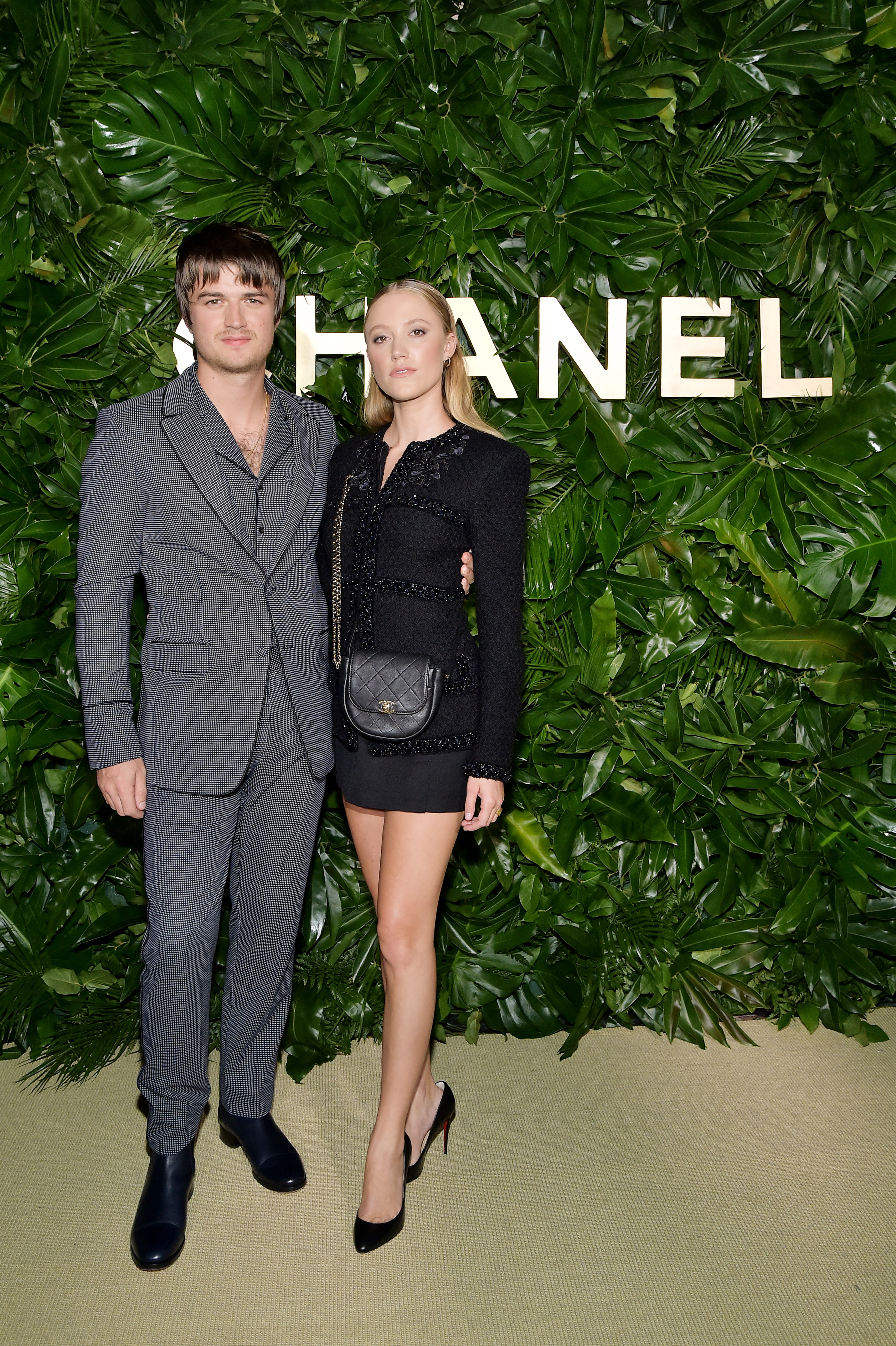 Joe Keery and Maika Monroe attend a Chanel event on September 12, 2019 in Los Angeles, California.