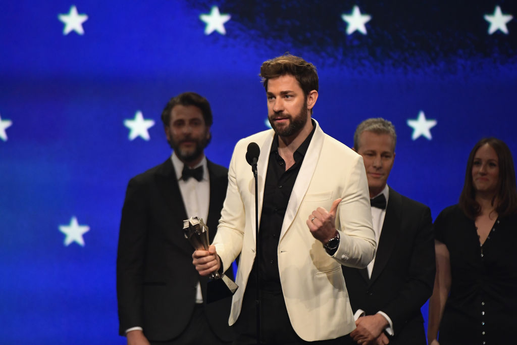 John Krasinski accepts Best Sci-Fi or Horror Film for 'A Quiet Place' onstage during the 24th annual Critics' Choice Awards at Barker Hangar on January 13, 2019 in Santa Monica, California.
