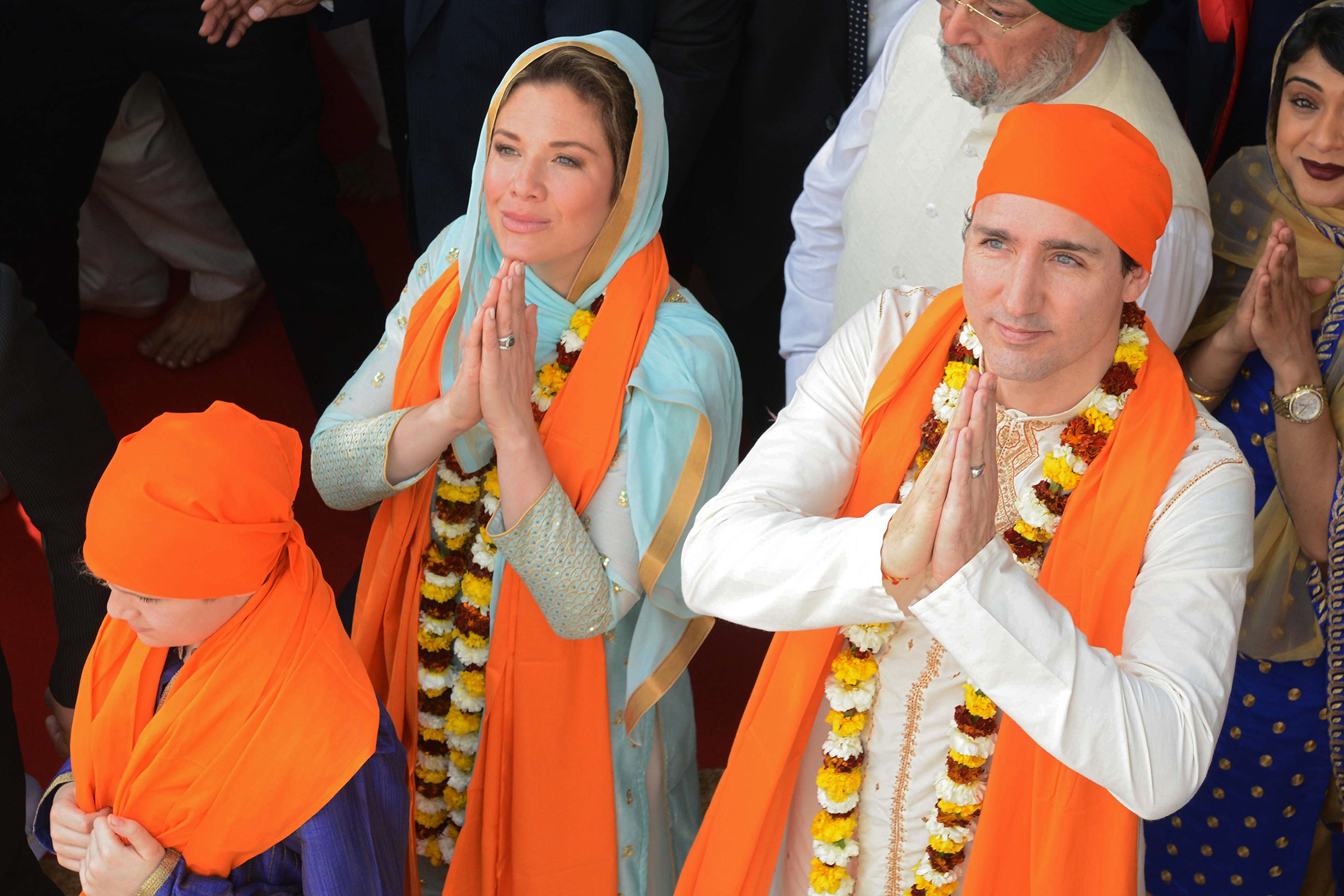 Canadian Prime Minister Justin Trudeau and wife Sophie Gregoire pay their respects at the SSikh Golden Temple in Amritsar on Feb. 21, 2018.