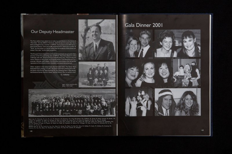 The yearbook from the 2000/2001 school year at West Point Grey Academy shows several people, some of whom are still on staff at the school, dressed up for the gala—however only Trudeau appears to have darkened his skin.