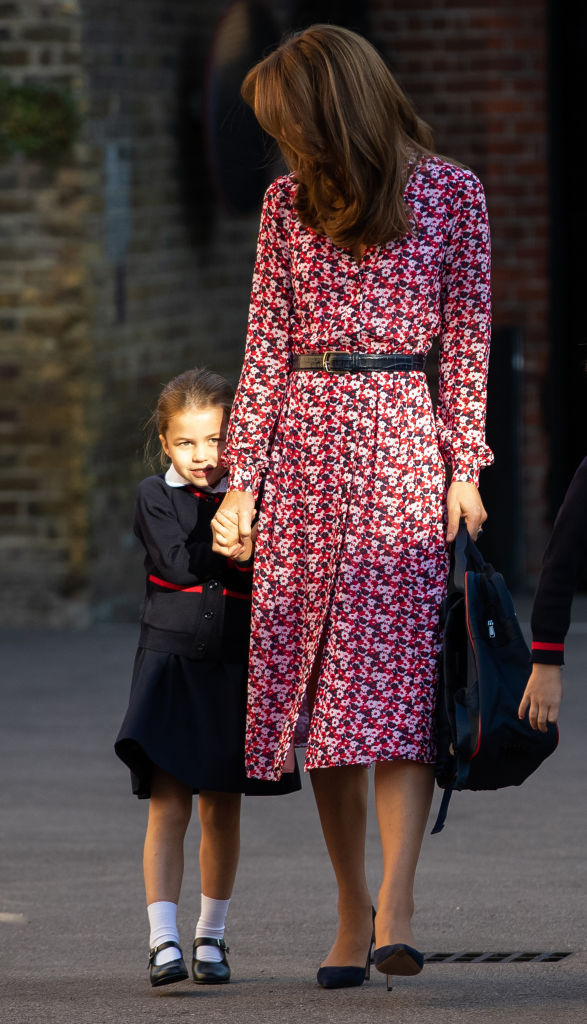 Princess Charlotte arrives for her first day of school, with her brother Prince George and her parents the Duke and Duchess of Cambridge, at Thomas's Battersea in London on Sept. 5, 2019.
