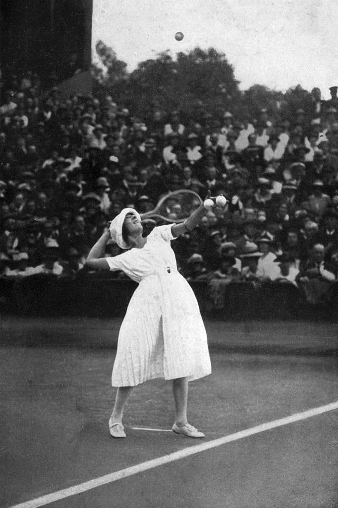 Suzanne Lenglen winning her first championship at Wimbledon in 1919.
