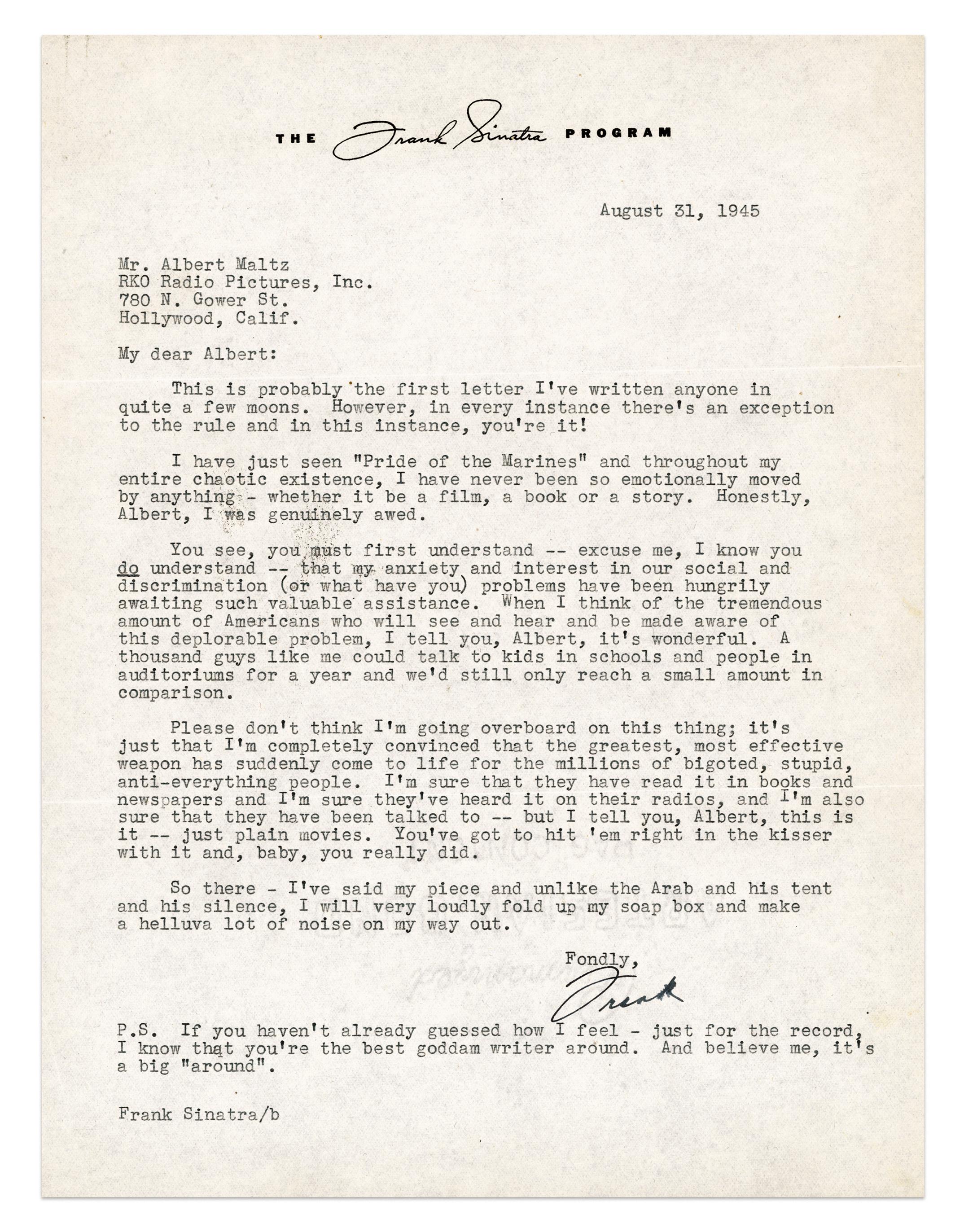 Frank Sinatra's letter to Albert Maltz. Aug. 31, 1945.