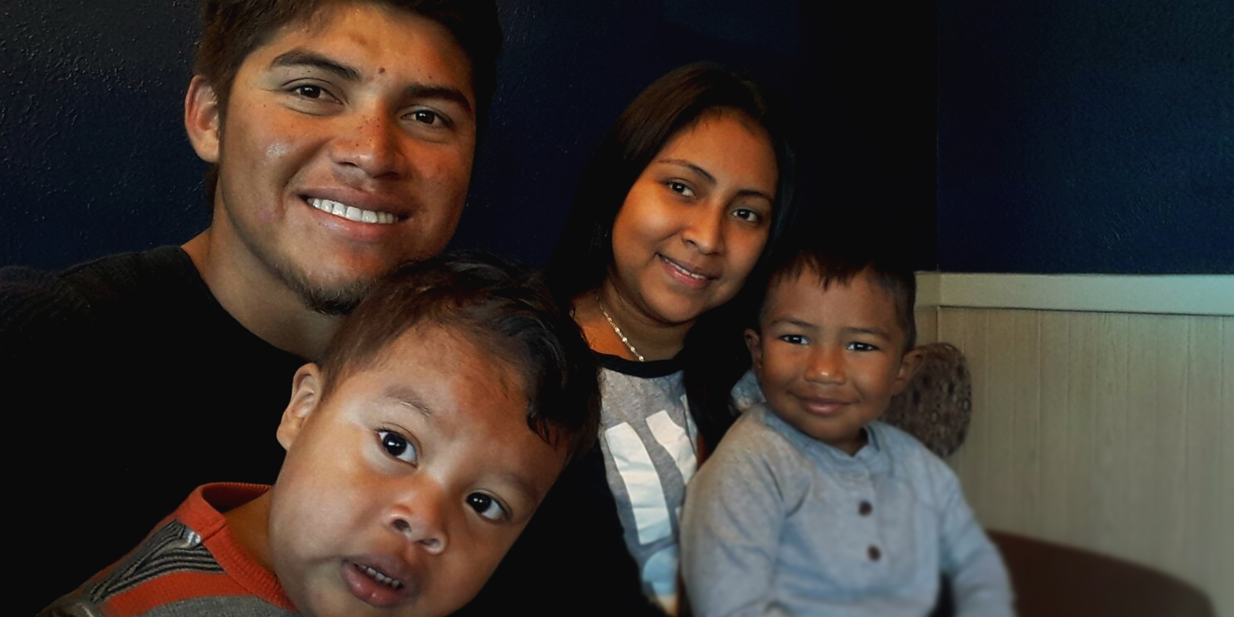 Luis Diaz with his girlfriend Kenia, his son Gael (left) and her son Noah (right).