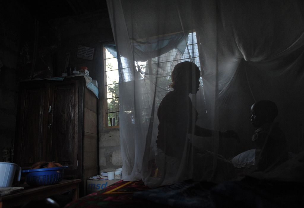 A mother and her child sit on a bed covered with a mosquito net in Tanzania on October 30, 2009.