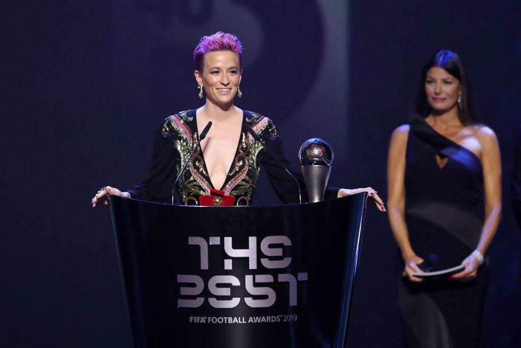 The Best FIFA Women's Player Award Winner Megan Rapinoe speaks during The Best FIFA Football Awards 2019 at Teatro alla Scala on September 23, 2019 in Milan, Italy.