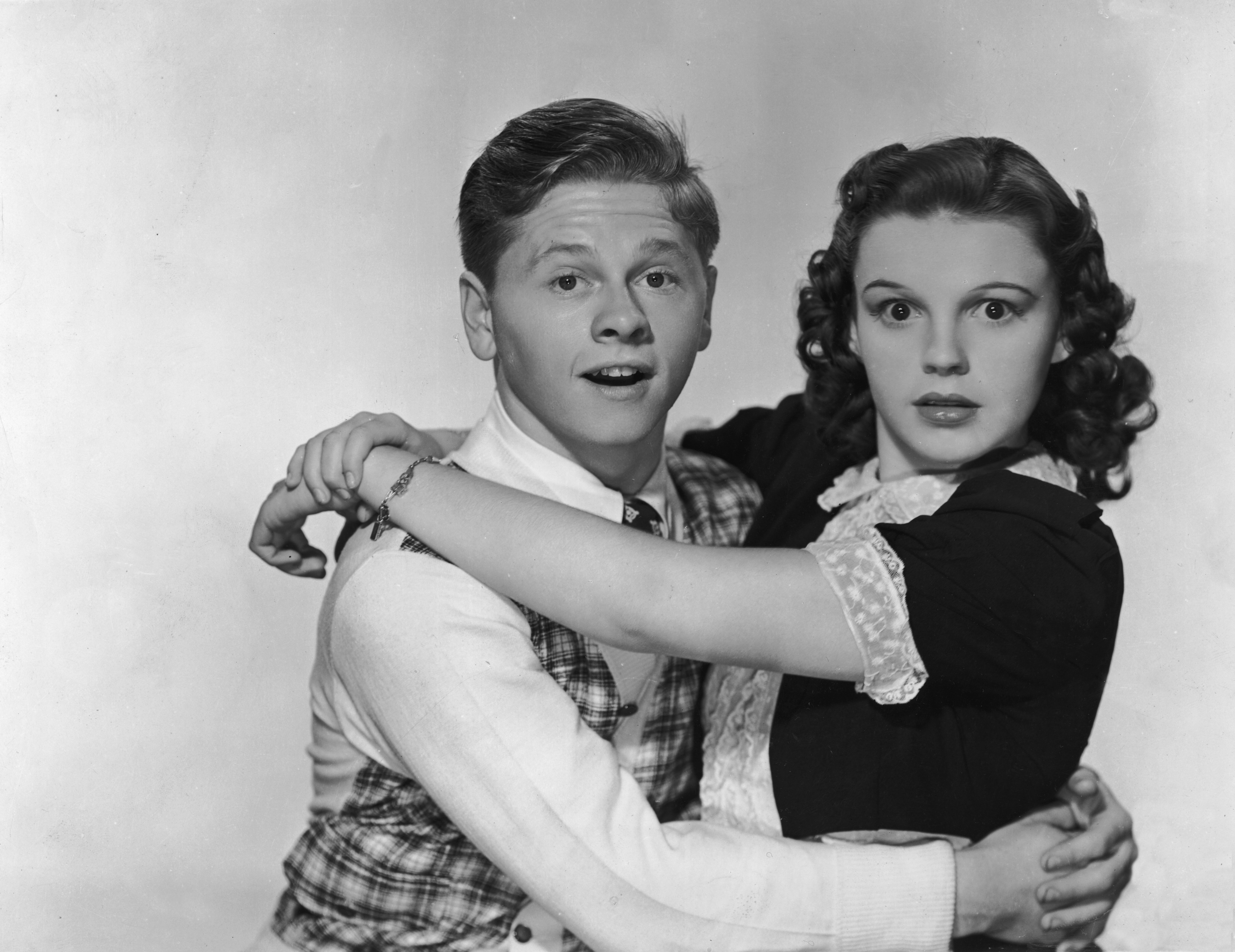 Mickey Rooney and Judy Garland in a promotional portrait for director George B. Seitz's film, 'Love Finds Andy Hardy,' circa 1938