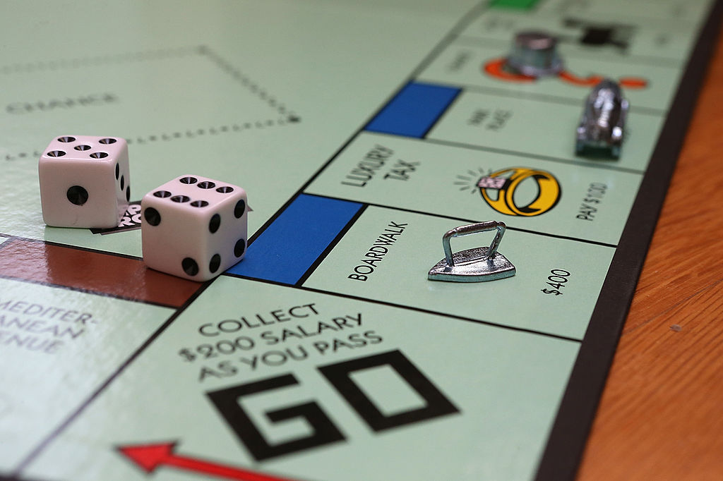 A Monopoly game board is seen in Fairfax, Calif.