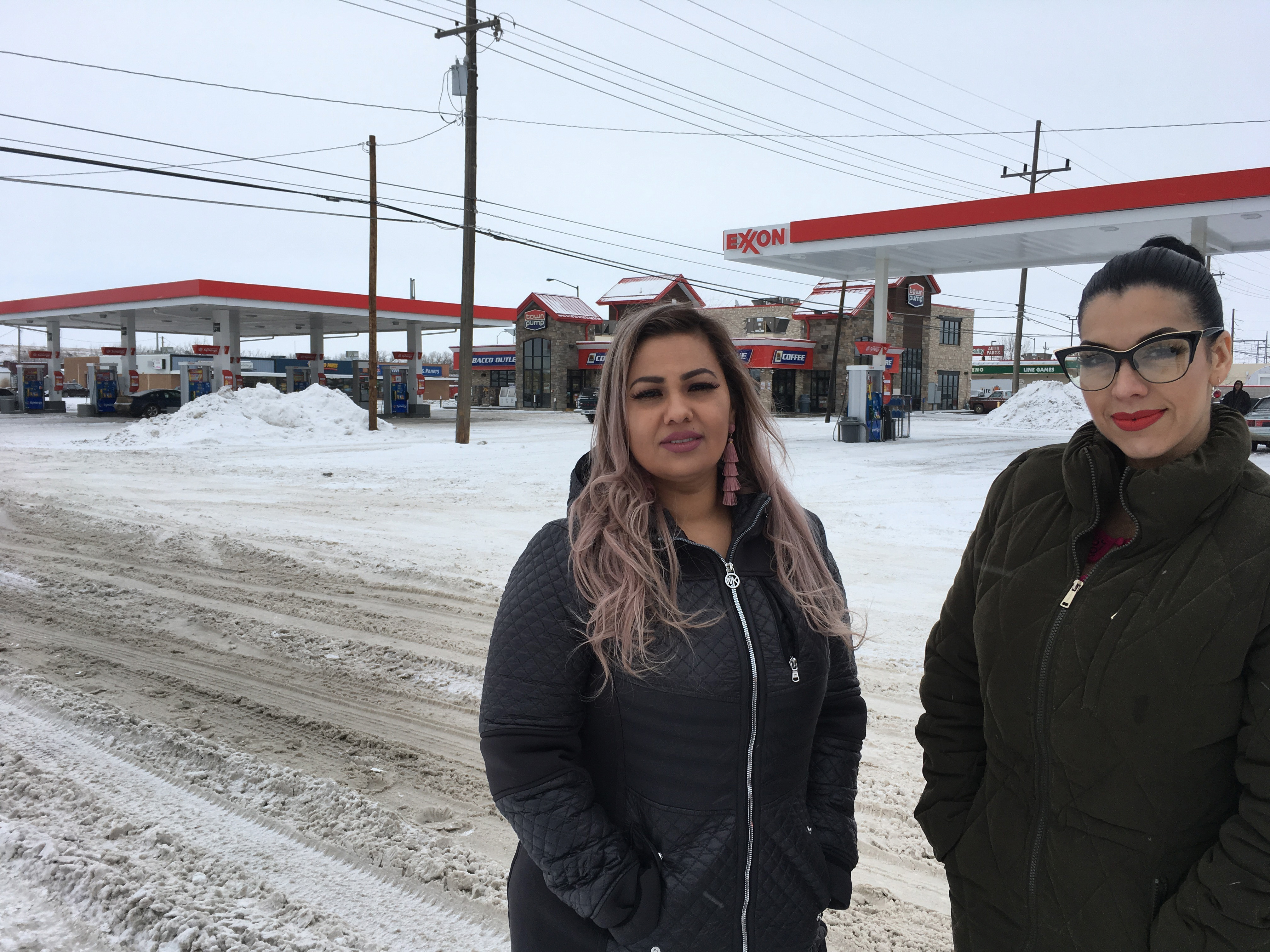 This Jan. 23, 2019 photo released by ACLU of Montana, shows Martha  Mimi  Hernandez, left, and Ana Suda in Havre, Mont. Suda said Friday, Sept. 20 she has been harassed by other Havre residents in stores and restaurants ever since a video of a Border Patrol agent questioning her and Hernandez was uploaded to YouTube.