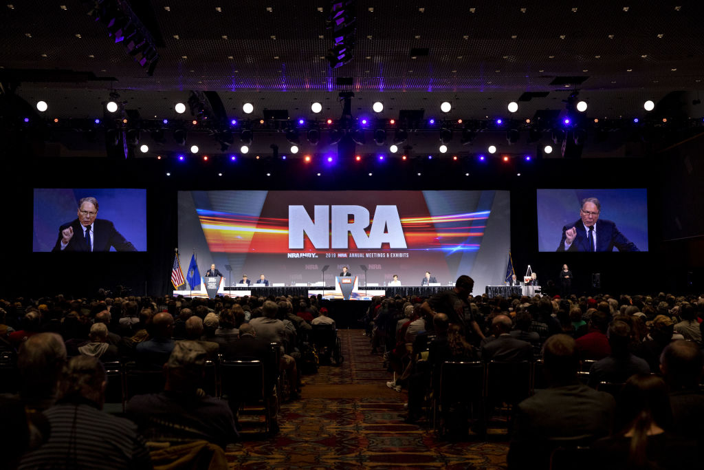 Wayne LaPierre, chief executive officer of the National Rifle Association (NRA), speaks during the NRA annual meeting of members in Indianapolis, Indiana, U.S., on Saturday, April 27, 2019.