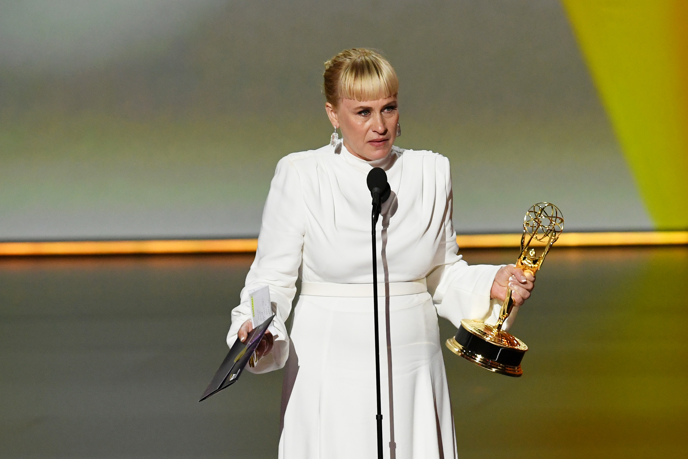 Patricia Arquette speaks out for transgender rights while accepting the Emmy for Supporting Actress in a Limited Series or Movie for 'The Act' during the 71st Emmys.