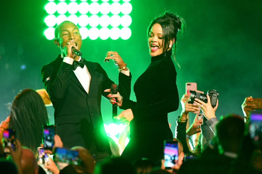 Pharrell Williams and Rihanna perform on stage during Rihanna's 5th Annual Diamond Ball Benefitting The Clara Lionel Foundation at Cipriani Wall Street on September 12, 2019 in New York City.