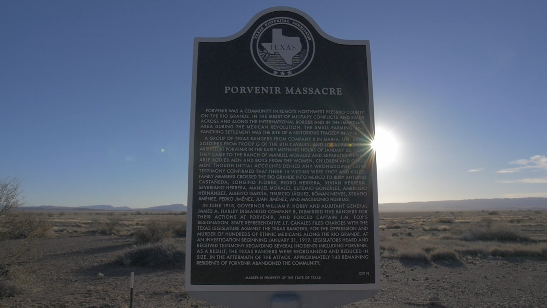 A historical marker commemorates the 1918 massacre at Porvenir, Texas.