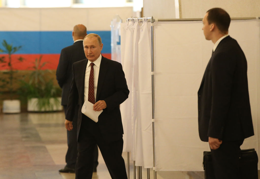 Russian President Vladimir Putin votes in local elections at the polling station on September 8, 2019 in Moscow, Russia.