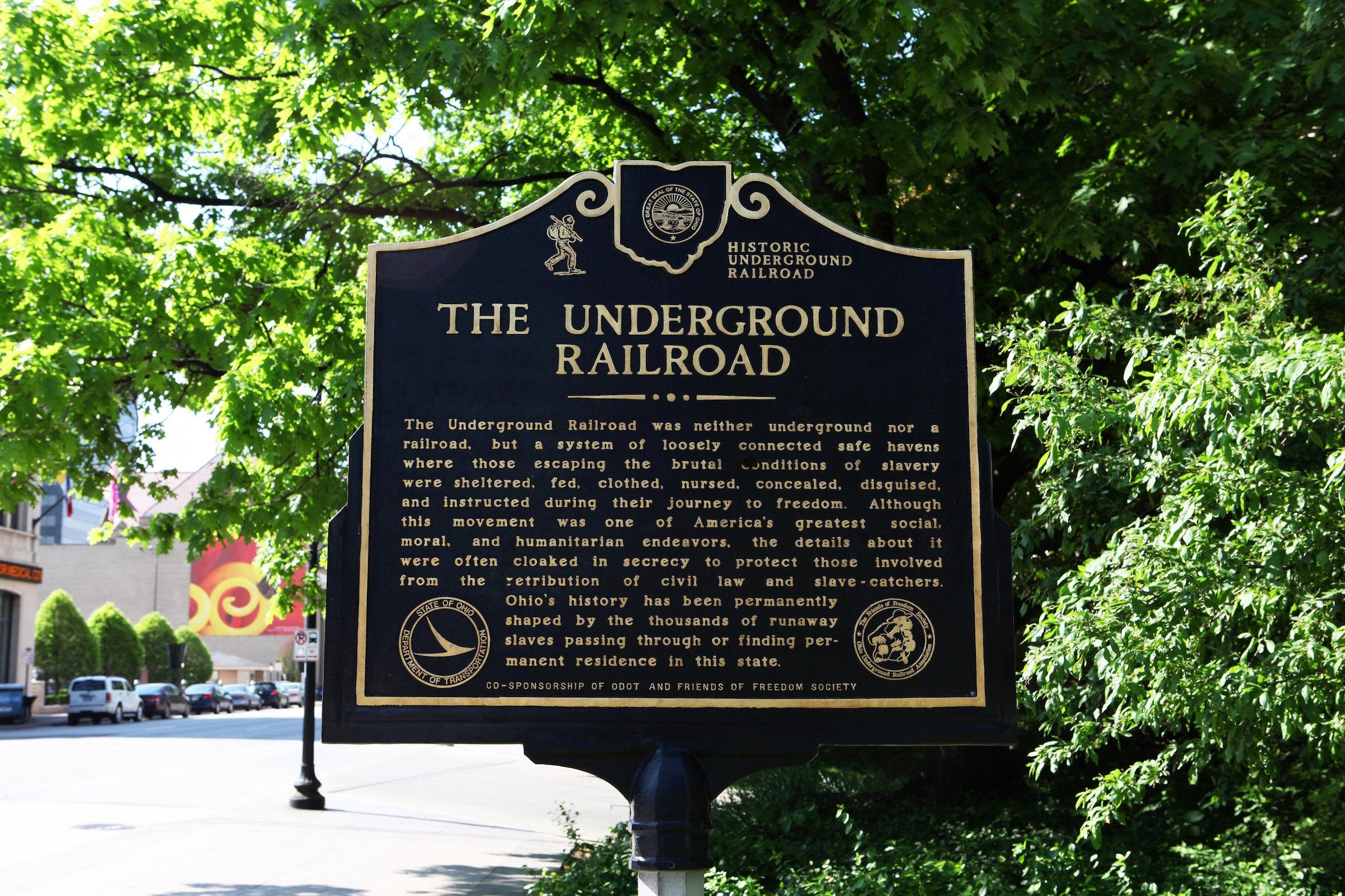 An Underground Railroad historic marker on May 16, 2014 in Columbus, Ohio