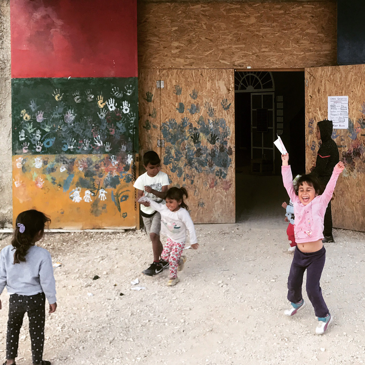 Children playing at Katsikas Camp in Greece in 2018.
