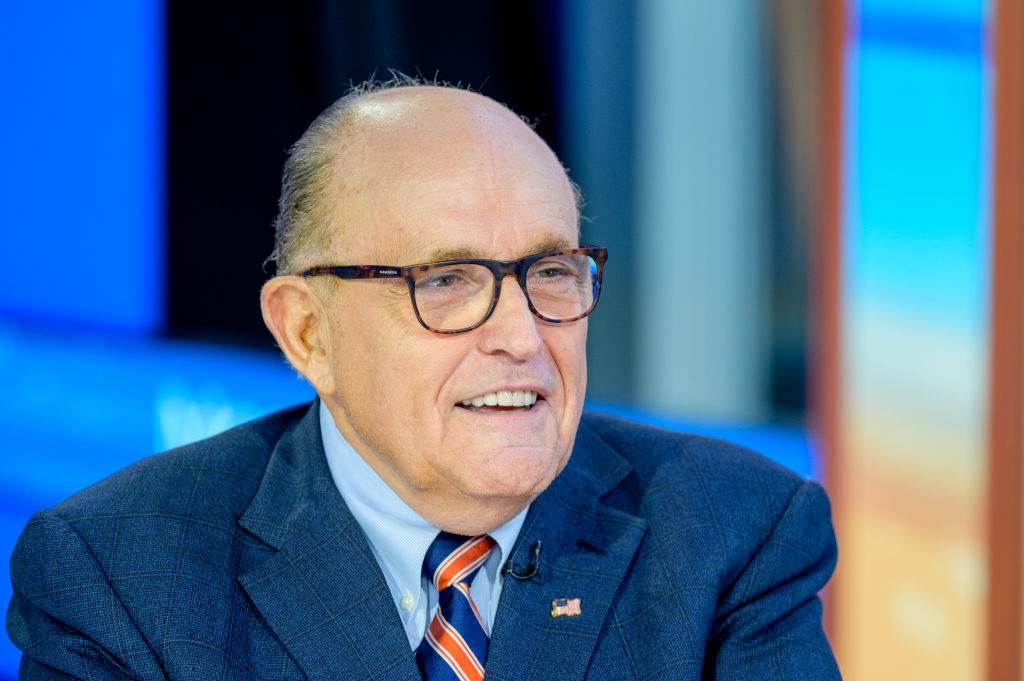 Former New York City Mayor and attorney to President Donald Trump Rudy Giuliani visits  Mornings With Maria  with anchor Maria Bartiromo at Fox Business Network Studios on September 23, 2019 in New York City.