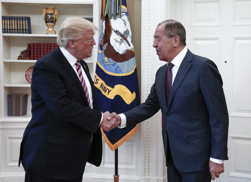 President Donald Trump shakes hands with Russia's Foreign Minister Sergei Lavrov as they meet for talks in the Oval Office at the White House, May 10, 2017.
