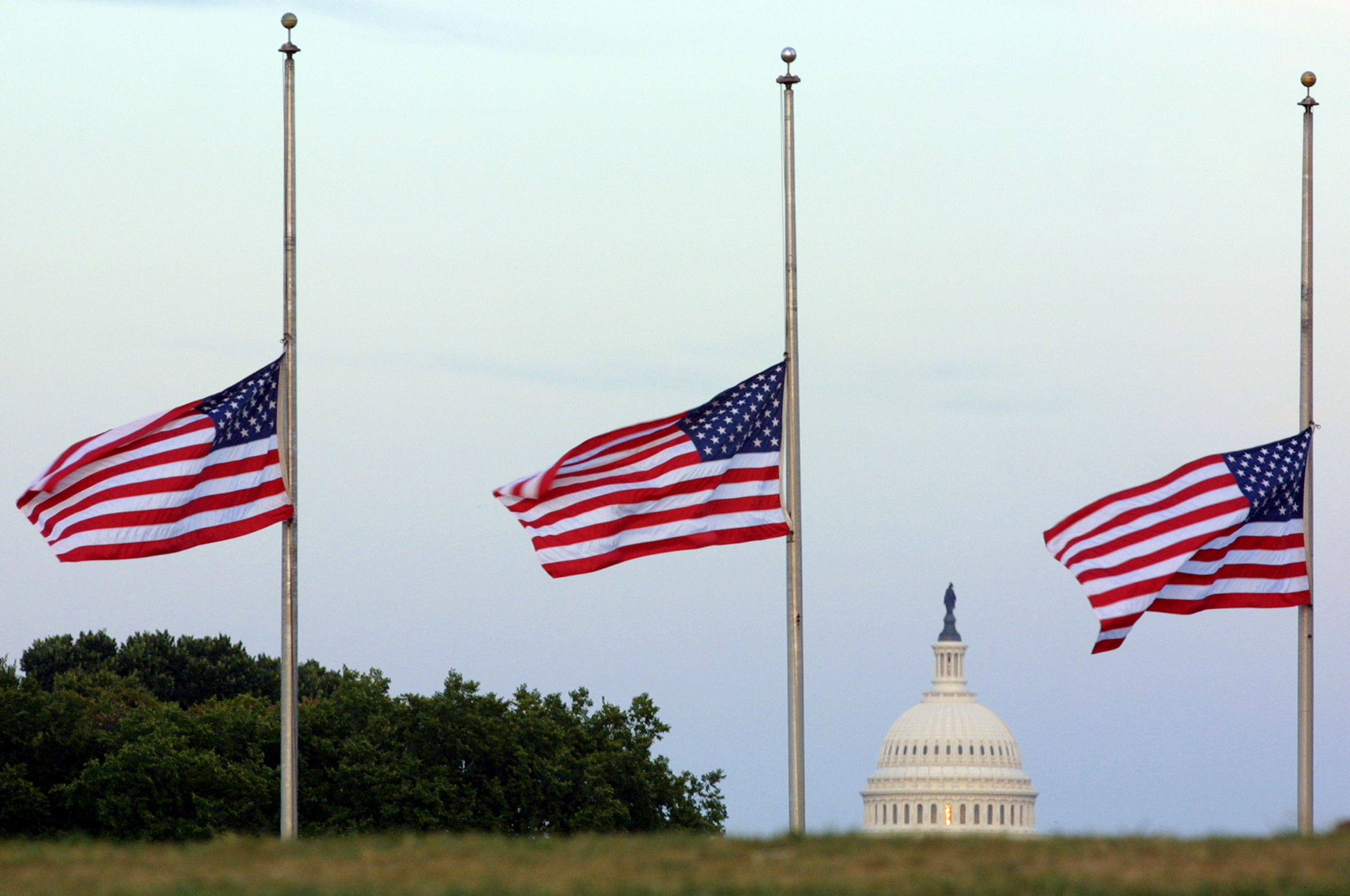 American flags fly at half mast on the grounds of the Washington Monument in memory of the victims of the terror attacks in New York City and at the Pentagon September 17, 2001 in Washington, DC.