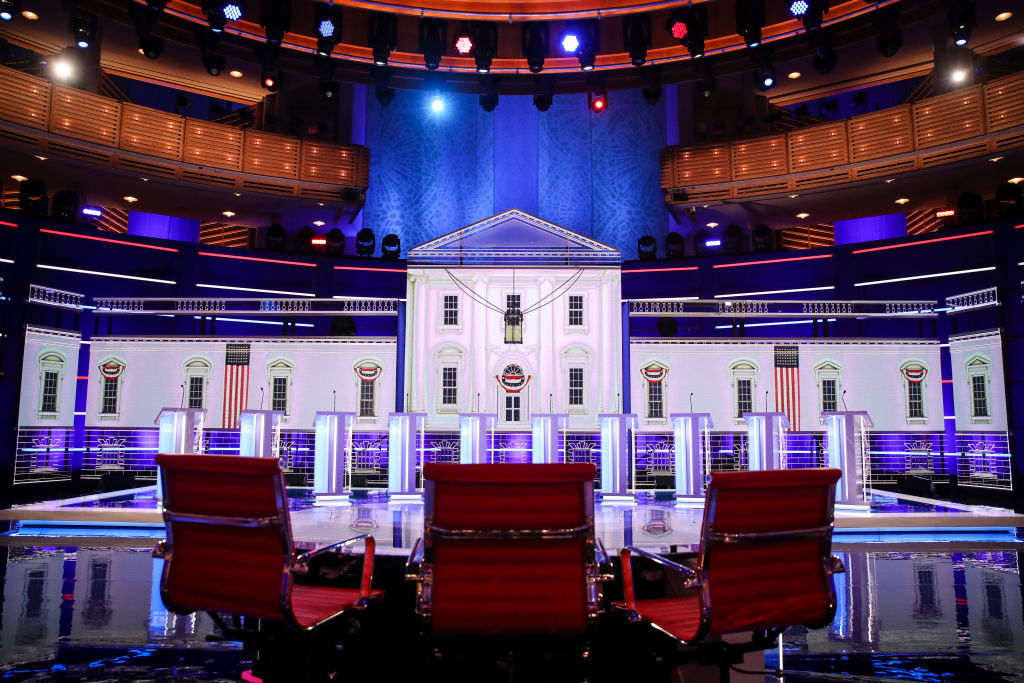 MIAMI, FL - JUNE 26: The stage for the first Democratic presidential primary debate for the 2020 election at the Adrienne Arsht Center for the Performing Arts, June 26, 2019 in Miami, Florida.