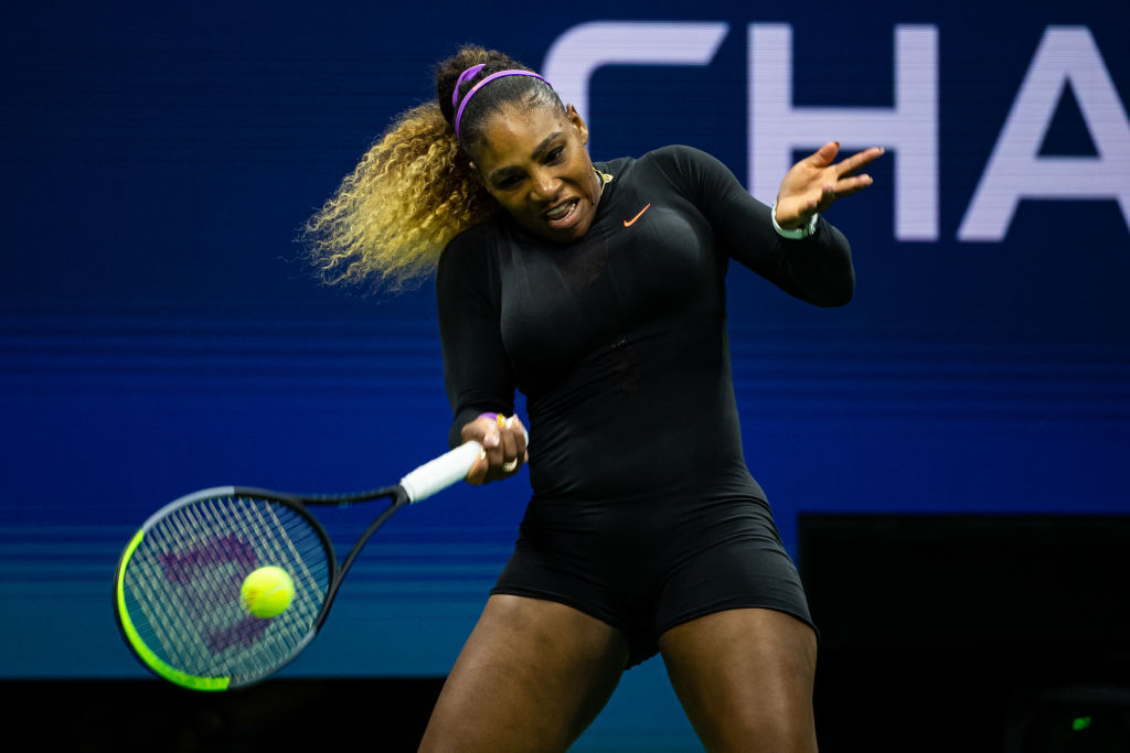 Serena Williams in the first round of the 2019 U.S. Open in Arthur Ashe Stadium at the USTA Billie Jean King National Tennis Center on Aug. 26, 2019, in New York City.