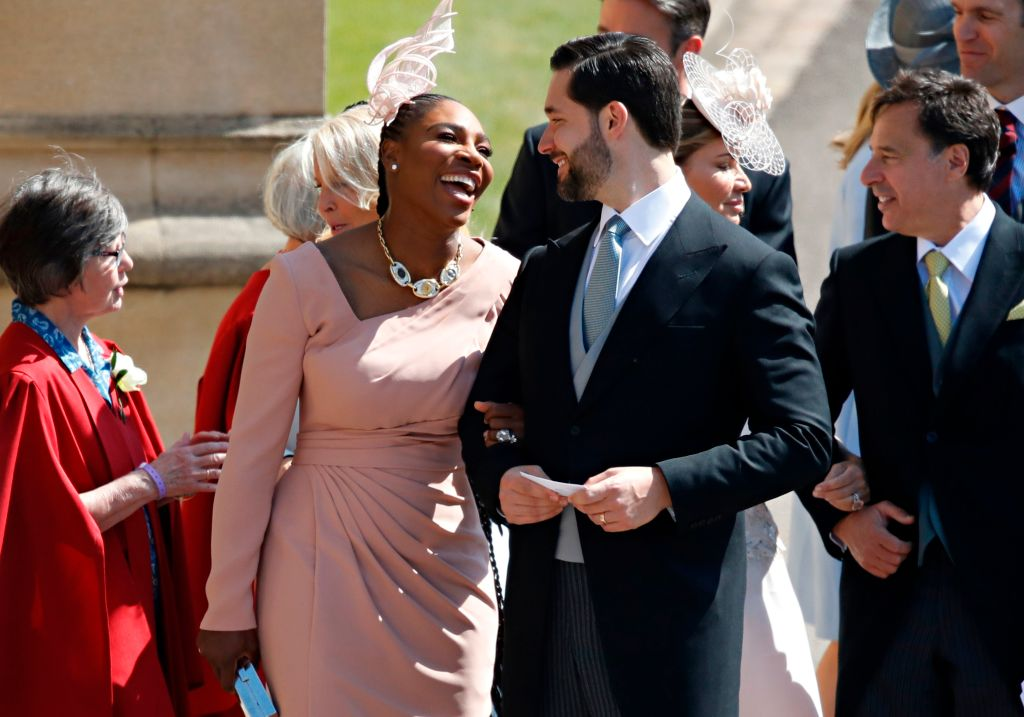 Meghan Markle's friend, US tennis player Serena Williams and her husband US entrepreneur Alexis Ohanian arrive for the wedding ceremony of Britain's Prince Harry, Duke of Sussex and Meghan Markle at St George's Chapel, Windsor Castle, in Windsor, on May 19, 2018. (Photo by Odd ANDERSEN / POOL / AFP