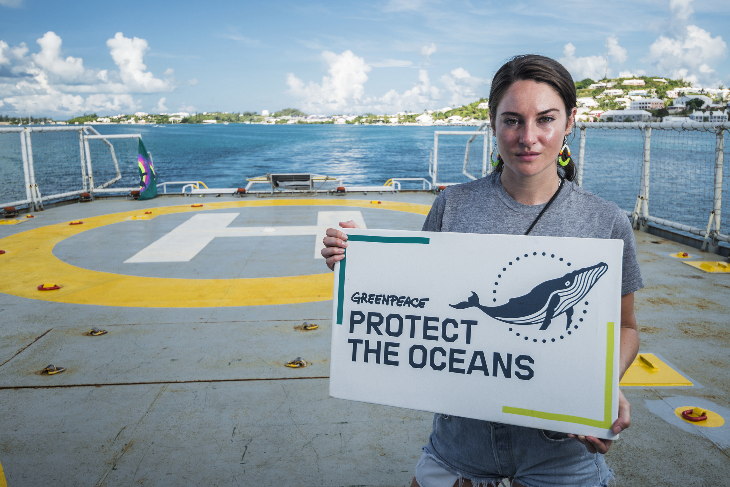 Shailene Woodley aboard the Greenpeace ship Esperanza departing Bermuda for the Sargasso Sea. The expedition will see Greenpeace and University of Florida researchers team up to study the impact of plastics and microplastics on marine life.