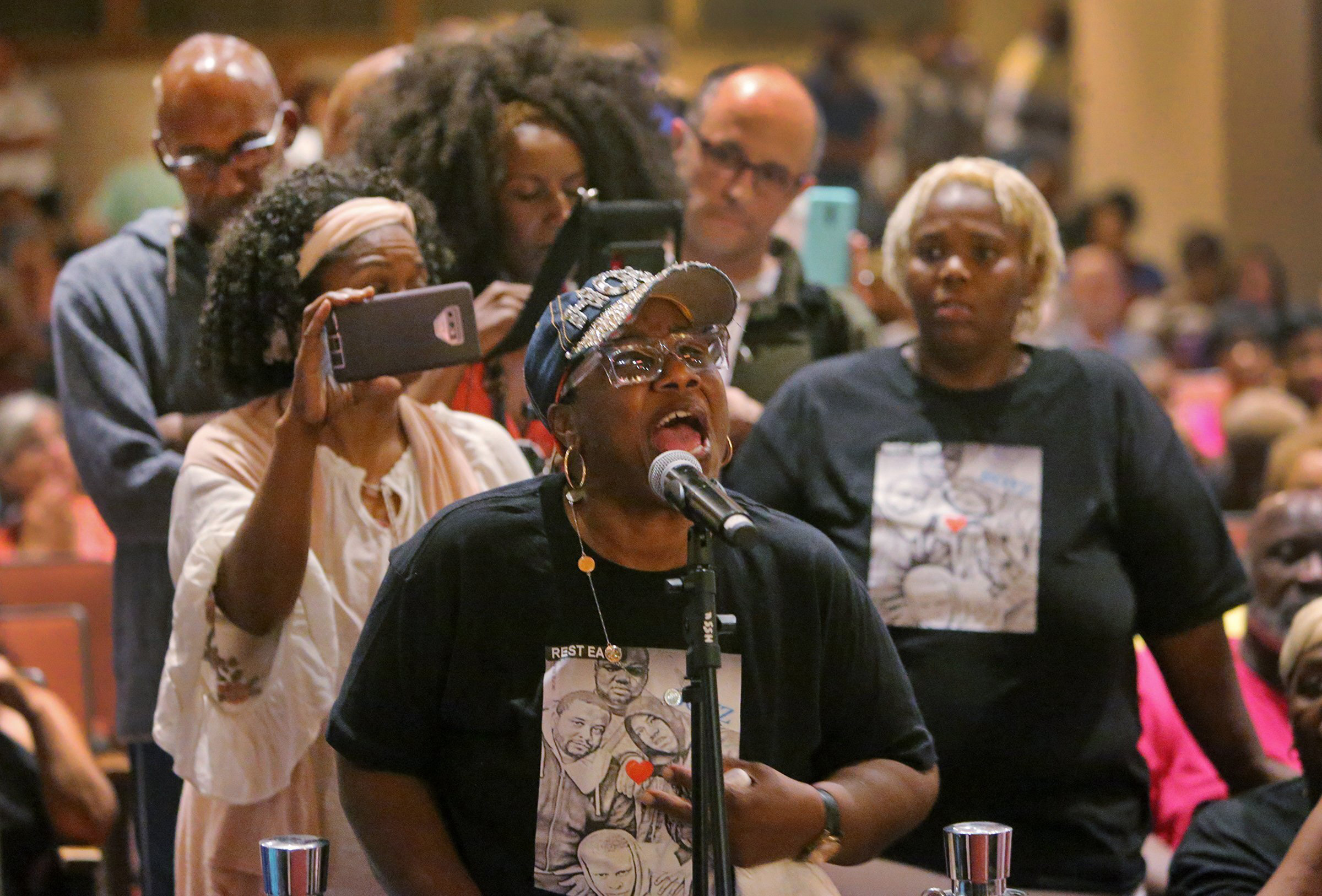 My heart hurts,  said Evelyn Sutton, 68, the first person in line to talk to the panel at the urgent Town Hall Meeting on Gun Violence at Harris-Stowe State University, on Wednesday, Aug. 28, 2019, in St. Louis. Sutton said she lost four relatives - two grandchildren and two nephews to gun violence. She said she hurts for all of the victims of gun violence.