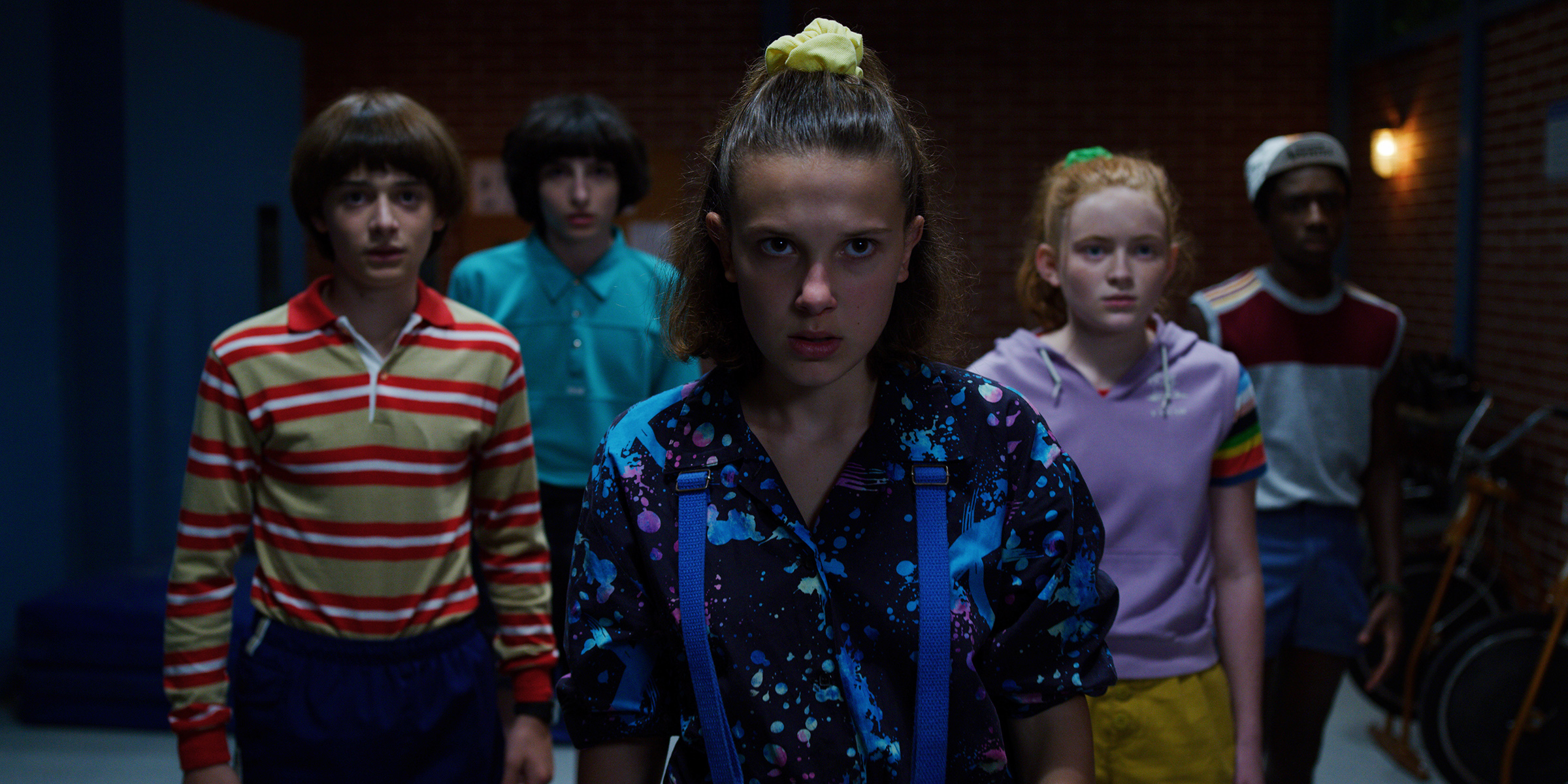 (L-R) Noah Schnapp, Finn Wolfhard, Millie Bobby Brown, Sadie Sink and Caleb McLaughlin in Stranger Things.