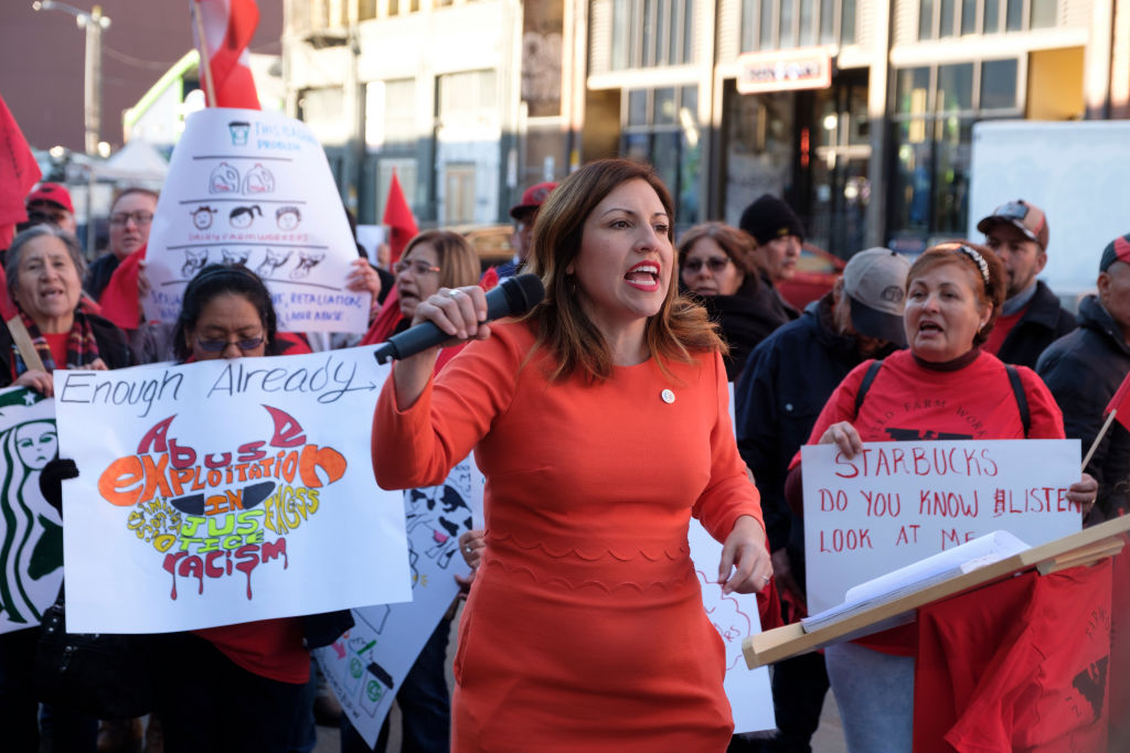 Seattle City Councilor Teresa Mosqueda speaks to protesters before the Starbucks annual shareholders meeting at WAMU Theater, on March 20, 2019 in Seattle, Washington.