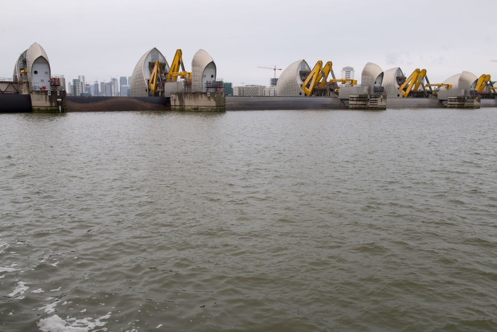 The Thames Barrier in east London is seen fully closed during its annual full test closure. The barrier's gates rotate by 90 degrees into the fully closed defence position stopping the tide going upstream into London.