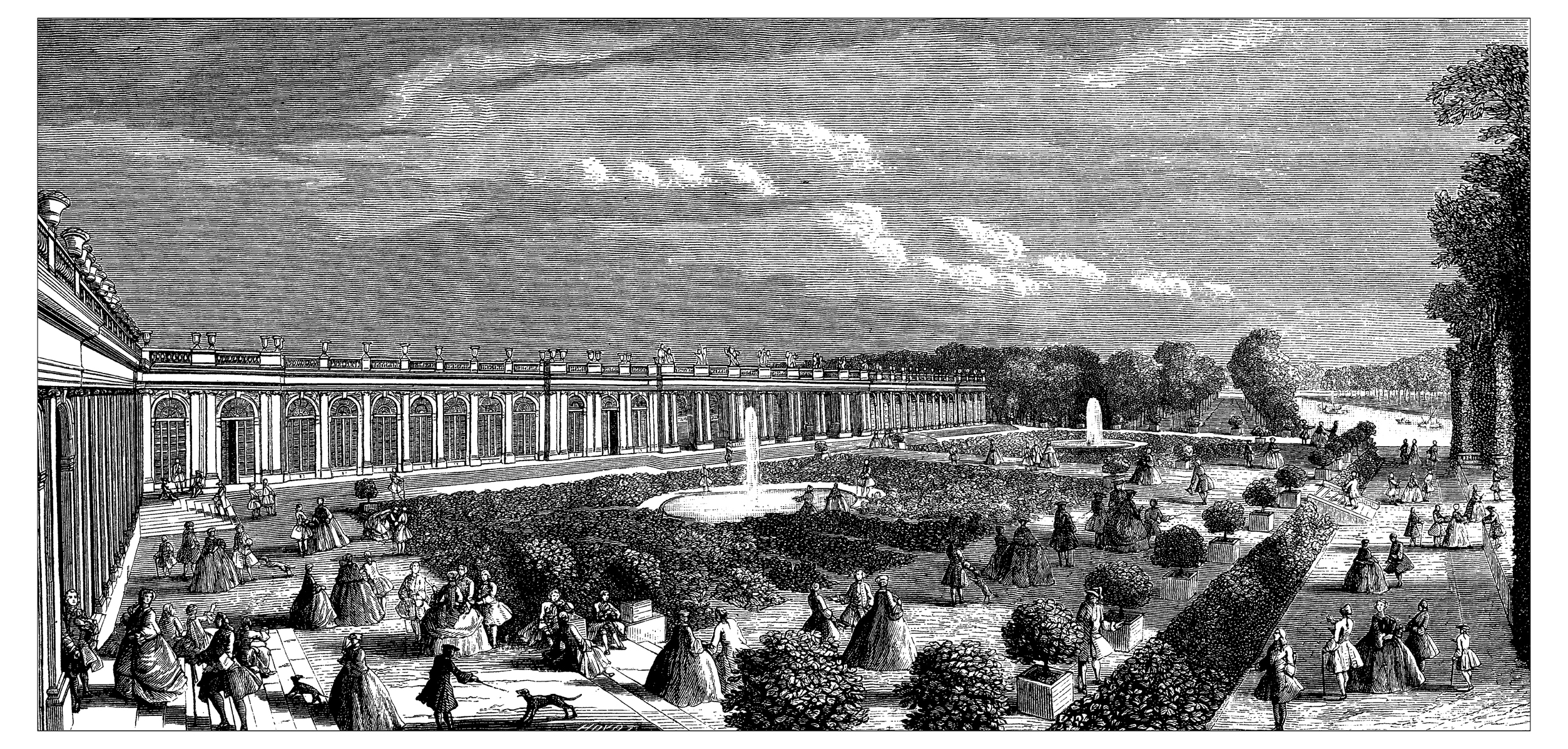 An antique illustration of the Grand Trianon