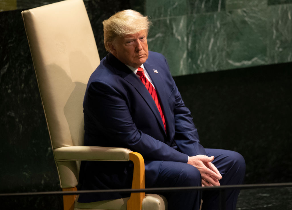 U.S. President Donald Trump waits to speak during the 74th Session of the United Nations General Assembly at U.N. Headquarters in New York, September 24, 2019.