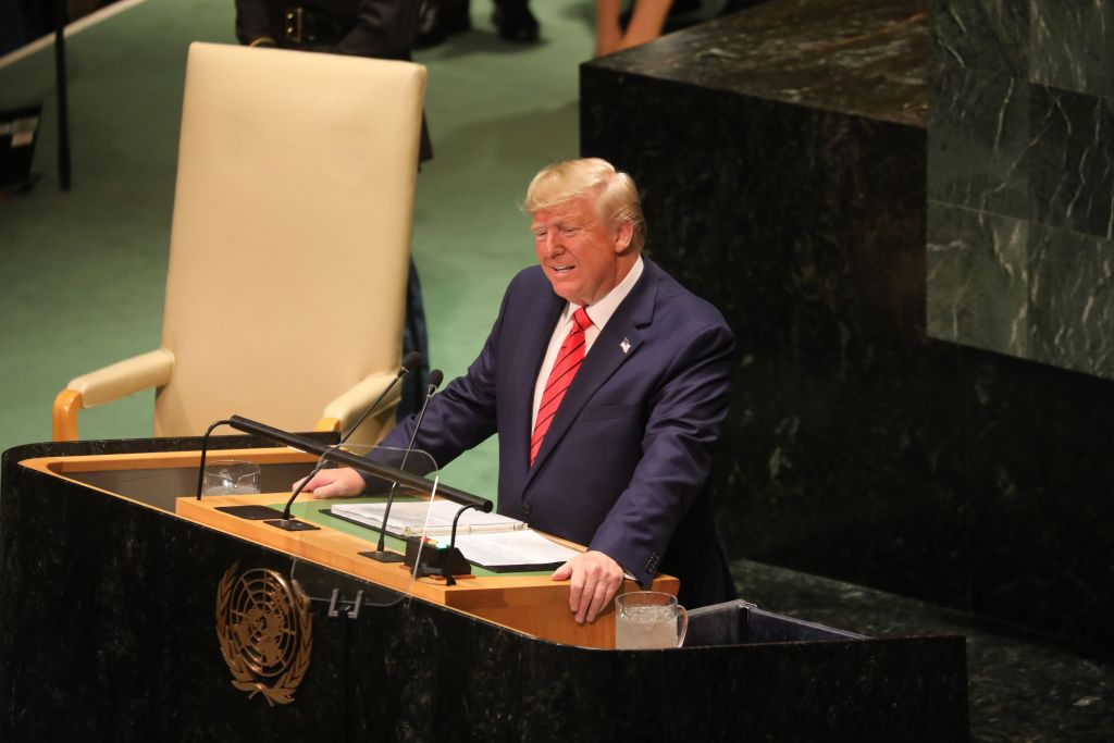 US President Donald Trump speaks during the 74th Session of the United Nations General Assembly at UN Headquarters in New York, September 24, 2019.