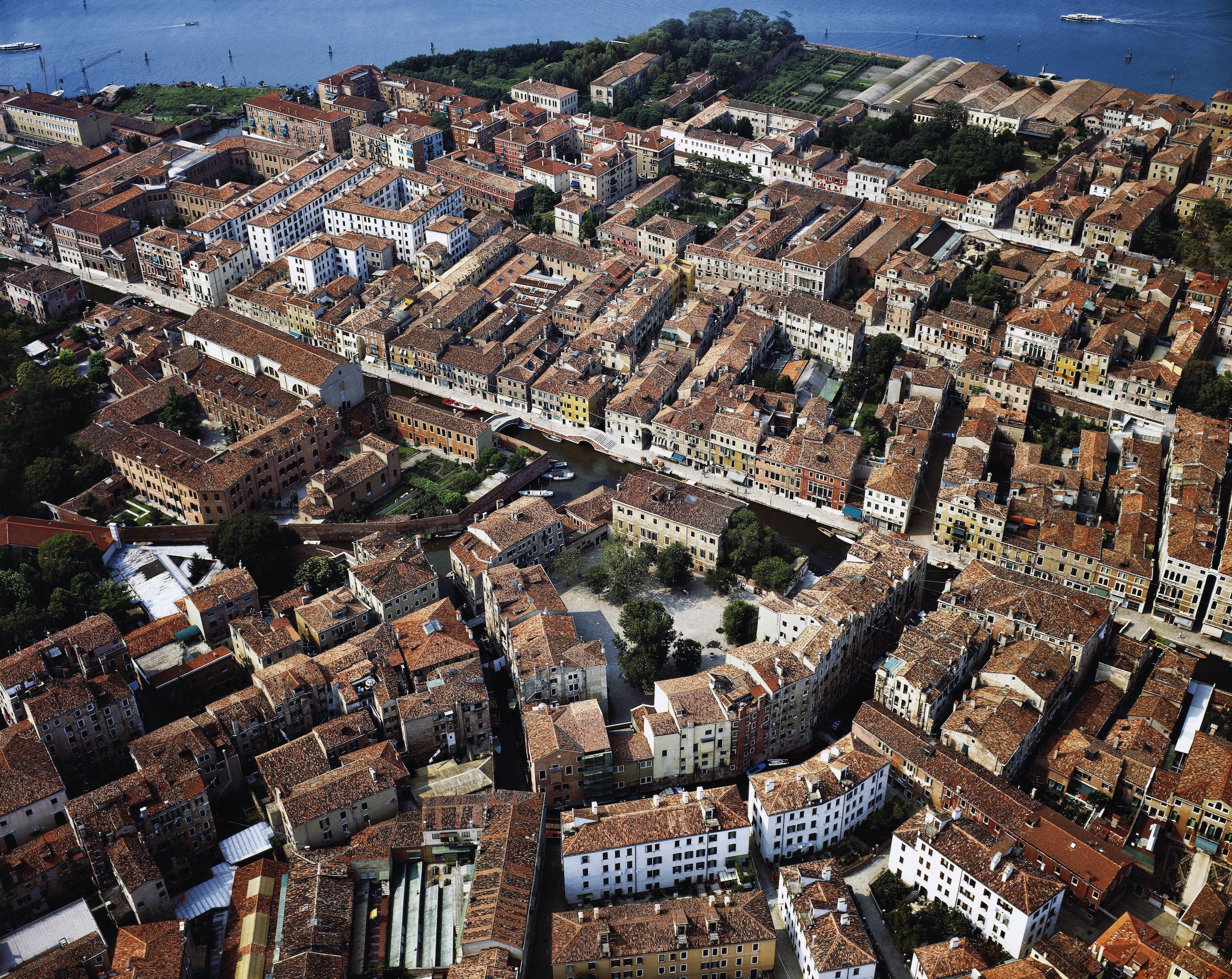 Aerial view of Campo Ghetto Nuovo, Venice