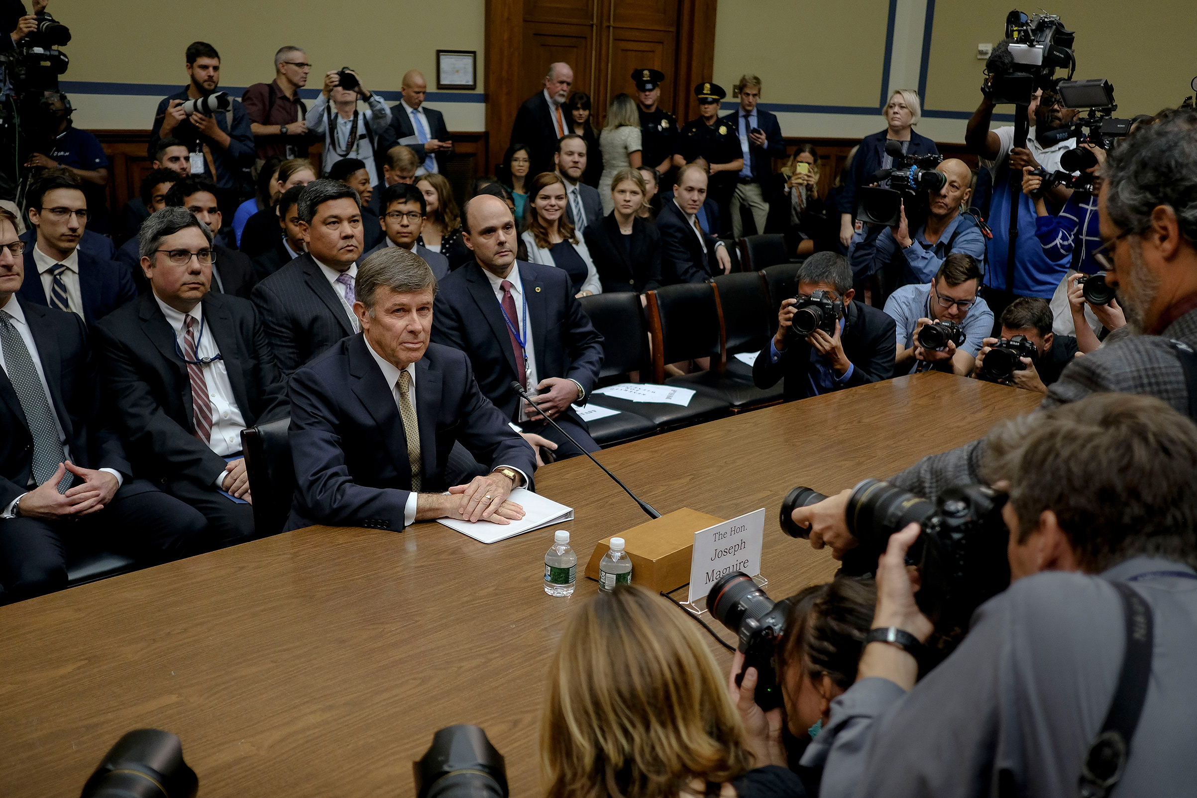 Acting Director of National Intelligence Joseph Maguire enters the House Intelligence Permanent Select Committee hearing room to testify on the whistleblower at the Rayburn House Office Building on Capitol Hill in Washington, D.C. on Sept. 26, 2019.