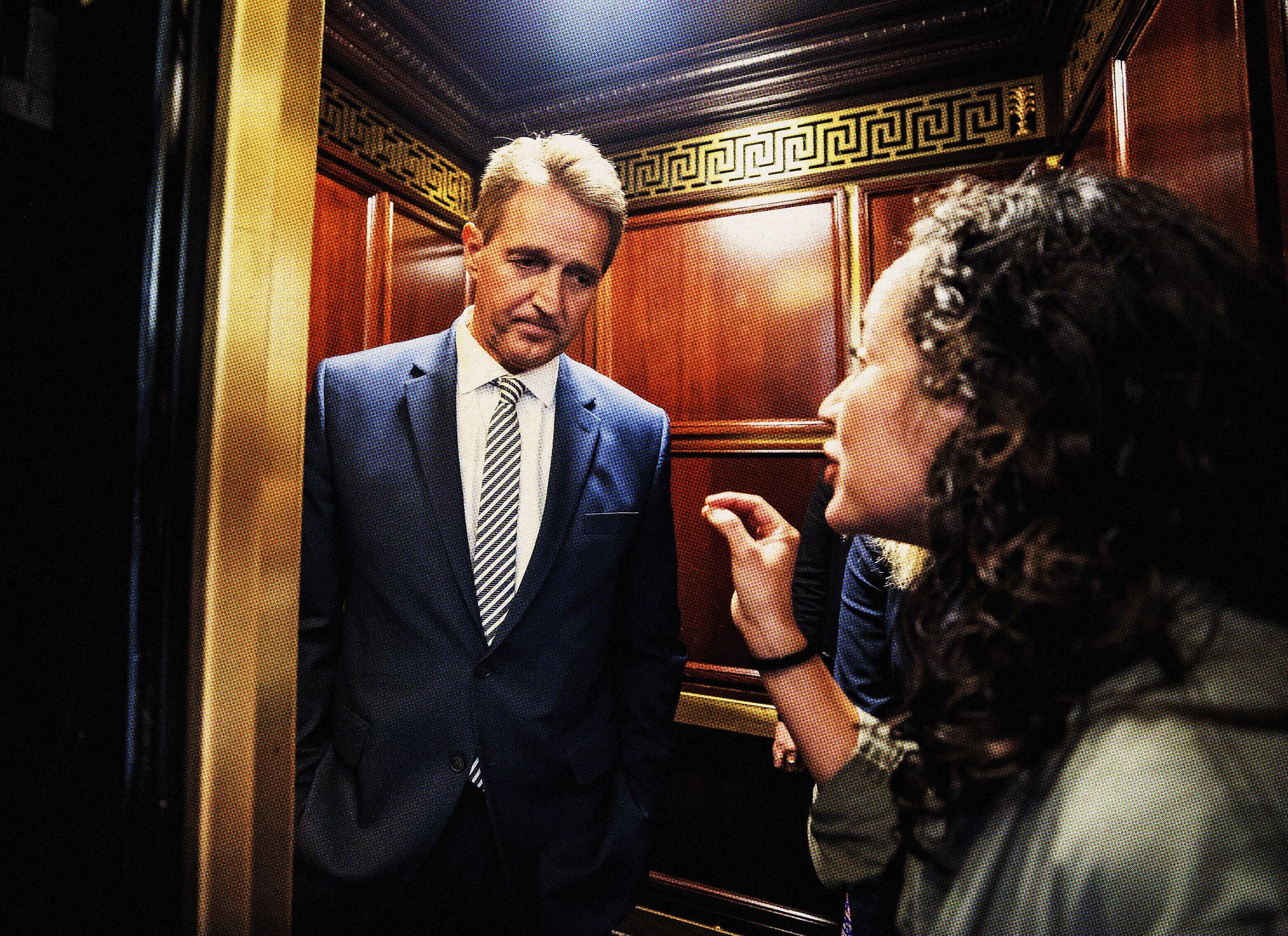 Archila confronts Flake on Sept. 28, 2018, as she and Gallagher (not pictured) beg him not to confirm Kavanaugh