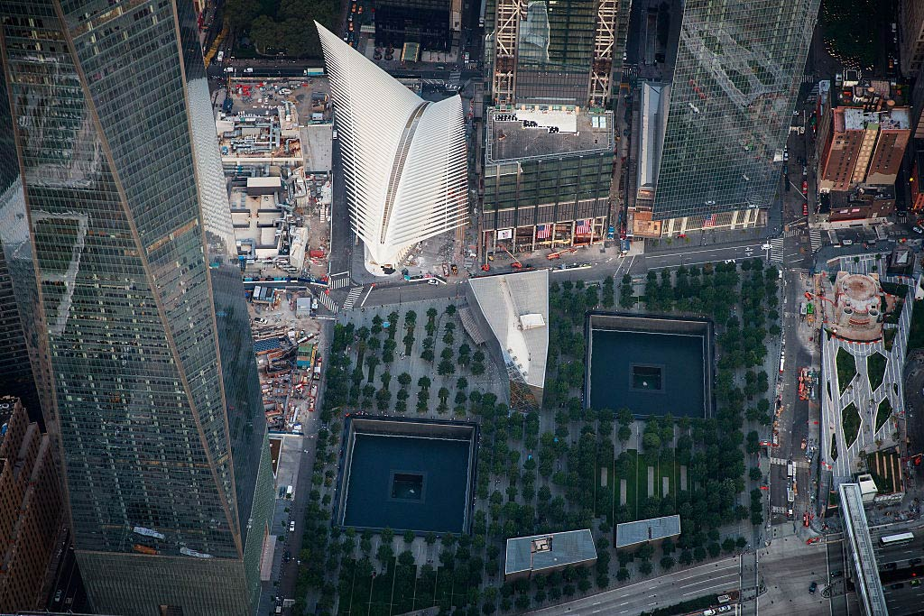 An aerial view of the 9/11 Memorial & Museum and the Oculus Transportation Hub on September 8, 2016, in New York City.
