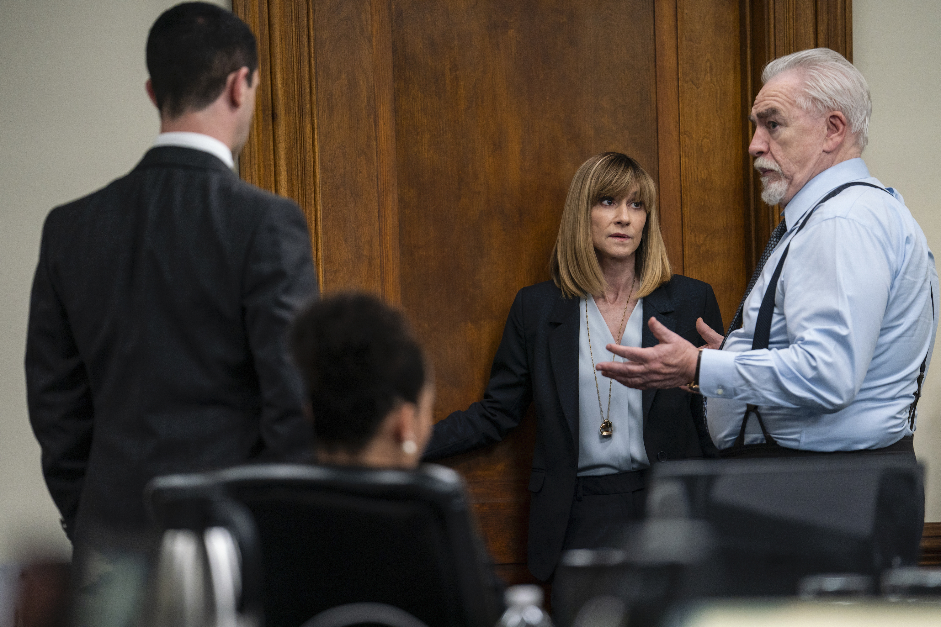 Holly Hunter (center) in Season 2, Episode 9 of 'Succession.'