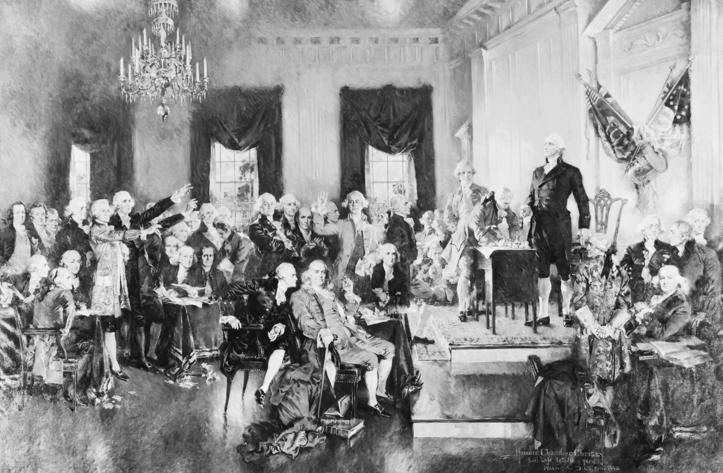 Painting by Howard Chandler Christie of George Washington presiding over the second Constitutional Convention in 1787.